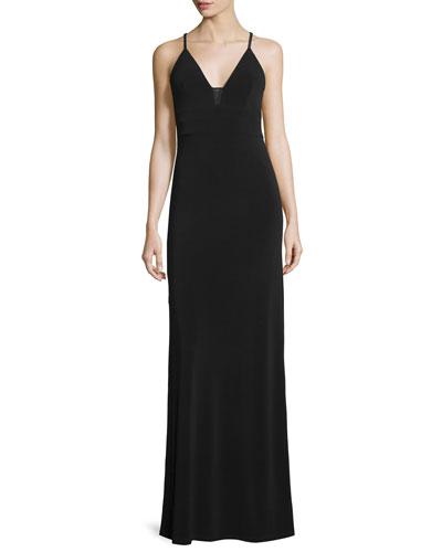Devlin Sleeveless Sheer-Inset Maxi Dress, Black