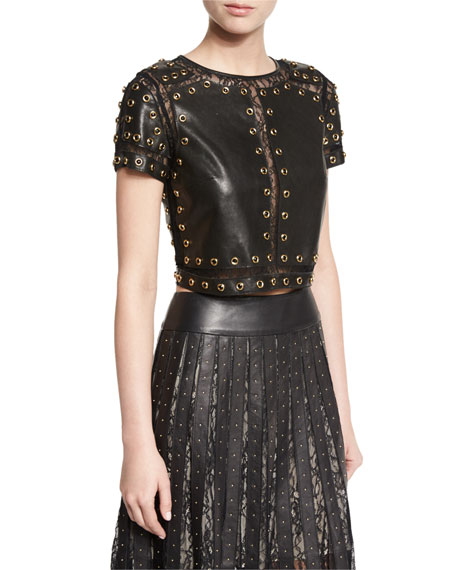 Alice + Olivia Rebecca Studded Leather Top w/Lace
