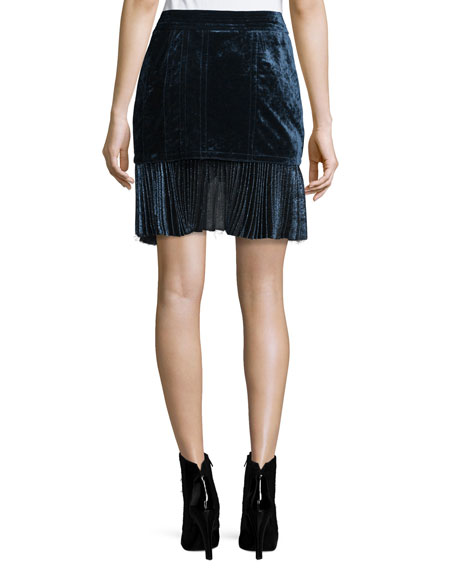 Image 3 of 3: Sculpted Velvet Mini Skirt, Sapphire