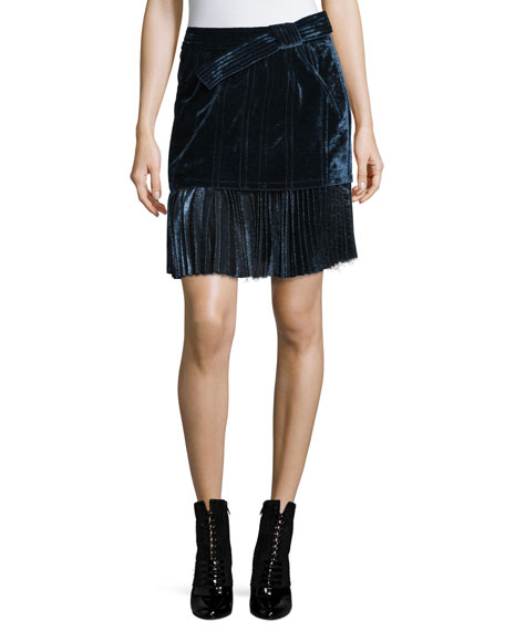 Image 1 of 3: Sculpted Velvet Mini Skirt, Sapphire