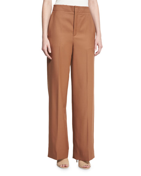 Helmut Lang High-Rise Wool Twill Pants, Autumn