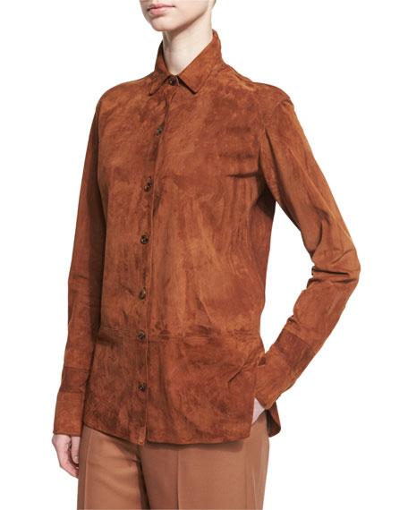 Helmut Lang Long-Sleeve Suede Button-Front Shirt, Dark Orange