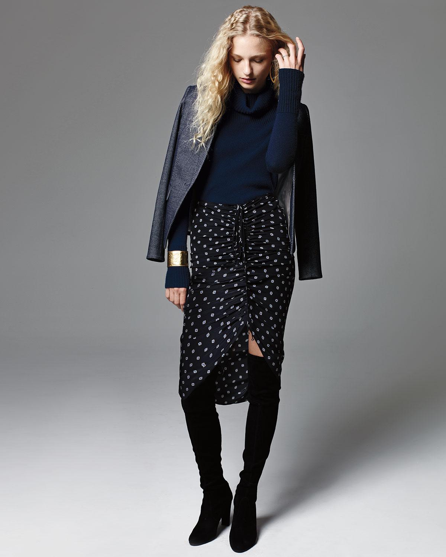 a953b50db06f Veronica Beard Ari Ruched Silk Polka-Dot Skirt, Black | Neiman Marcus