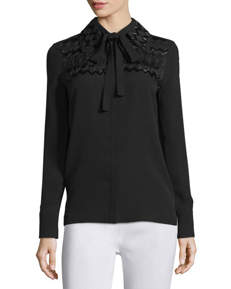 Yigal Azrouel Long-Sleeve Tie-Neck Embroidered Blouse, Jet Black