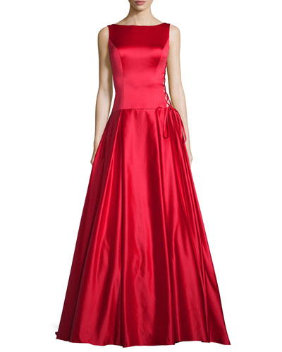 Neiman marcus red long dress
