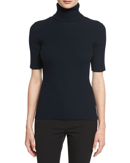 3.1 Phillip Lim Ribbed Half-Sleeve Turtleneck Top, Sapphire