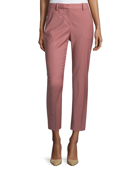 Theory Treeca Cl. Continuous Cropped Pants, Pink Willow