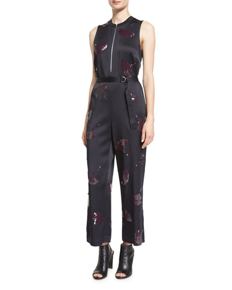 3.1 Phillip Lim Sleeveless Gingko-Embellished Jumpsuit, Midnight