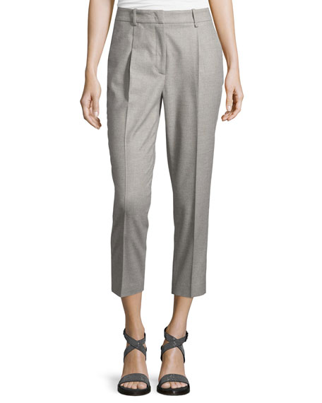 Peserico Cropped Flannel Pants, Stone