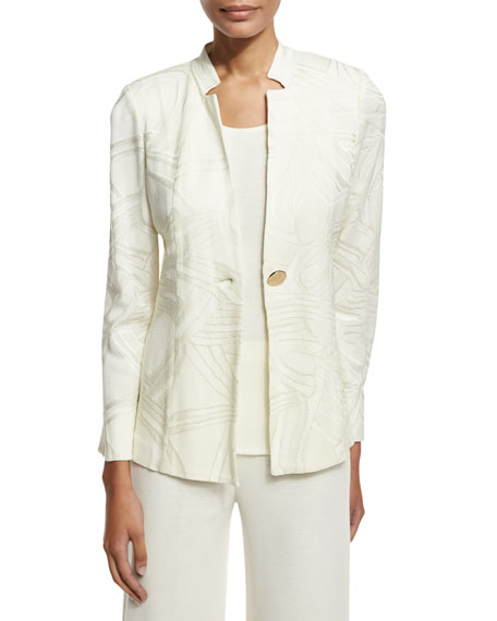 Misook Petite Notch-Collar Ribbon-Print Jacket, Cream