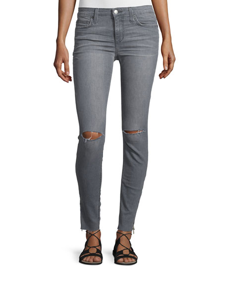 The Icon Skinny Ripped Ankle-Zip Jeans, Mando