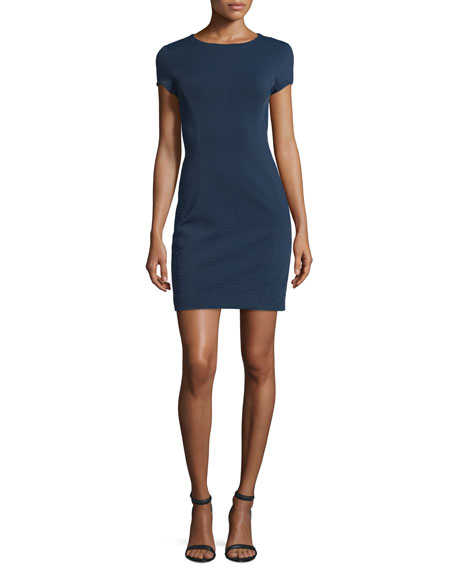 Cap-Sleeve Embossed Ponte Dress, Navy