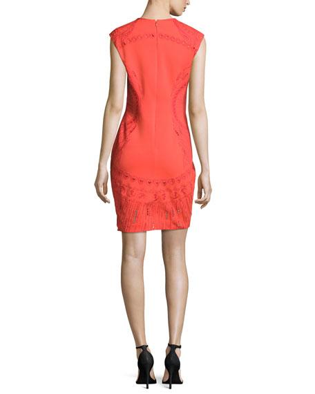Sleeveless Embroidered Ponte Mini Dress, Mandarin