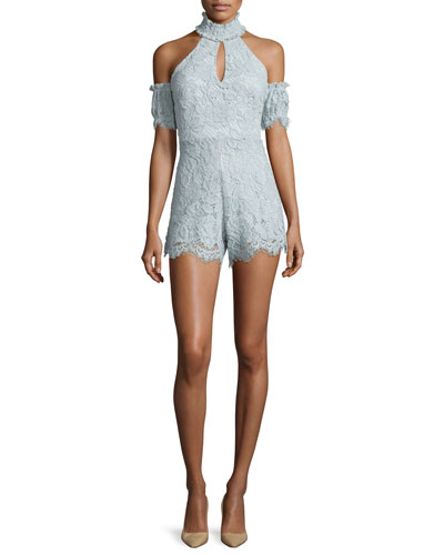 Adele Lace Cold-Shoulder Romper, Sistine Blue