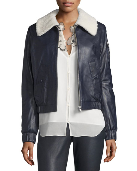 Leather Bomber Zip-Front Jacket, Pintucked Printed Silk Blouse