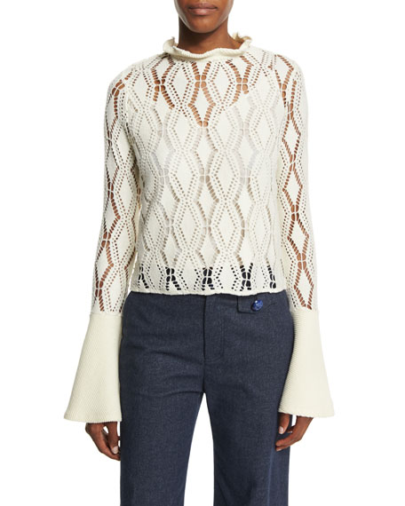 See by Chloe Bell-Sleeve Crochet Top, Winter White