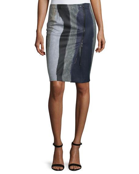 Yigal Azrouel Asymmetric Zip-Front Pencil Skirt, Jet/Multi