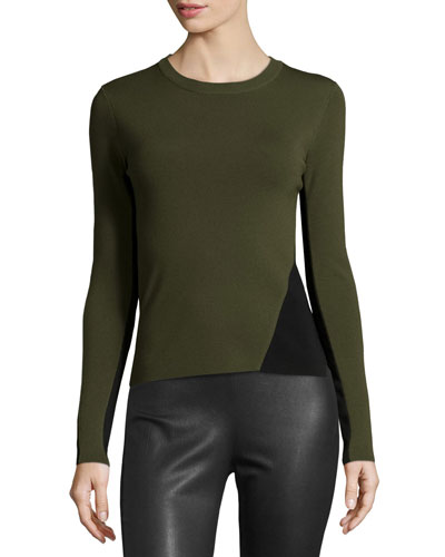 Cecilee Colorblock Crewneck Ponte Top, Army