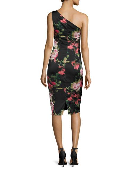 David Meister One-Shoulder Floral Jersey Cocktail Dress- Black/Pink