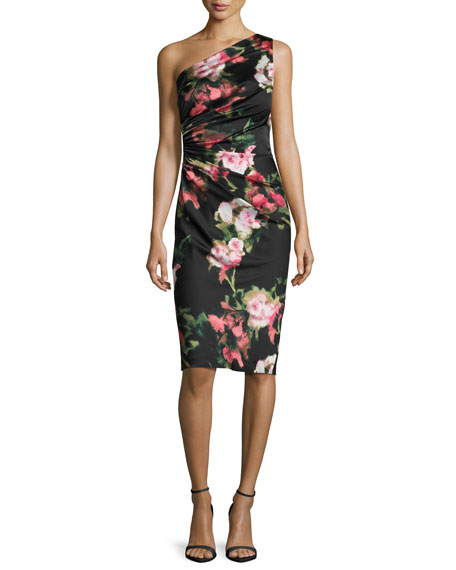 David Meister One-Shoulder Floral Jersey Cocktail Dress,