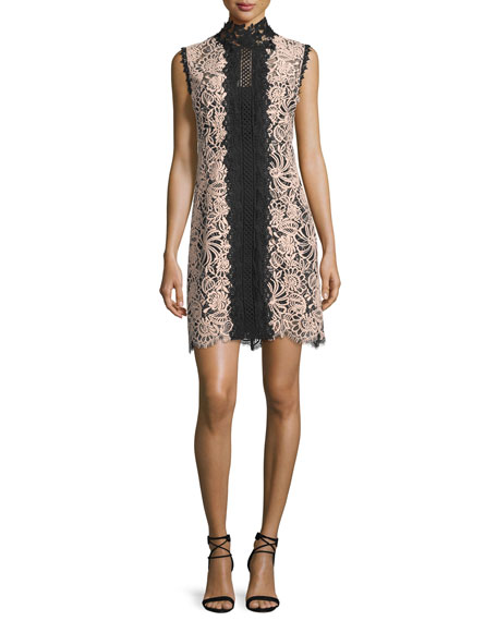 Nanette Lepore Sleeveless Lace Colorblock Mini Dress, Desert