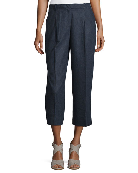 Lafayette 148 New York Rivington Cropped Straight-Leg Wool-Blend
