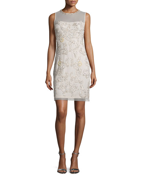 Aidan Mattox Sleeveless Beaded Sheath Cocktail Dress