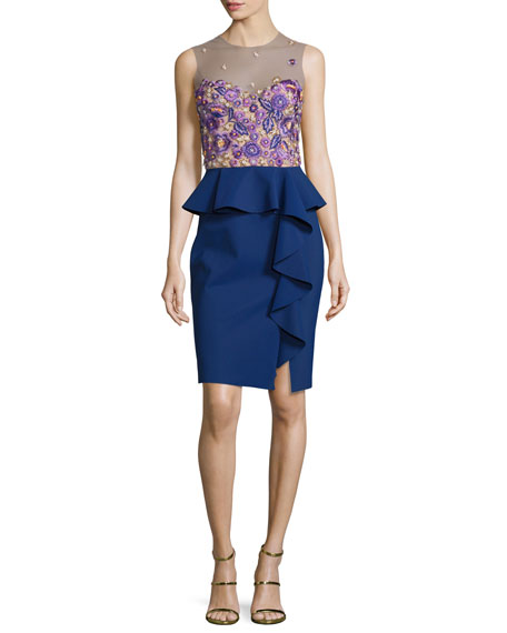 8db7857171 Marchesa Notte Sleeveless Embroidered Peplum Dress, Navy | Neiman Marcus