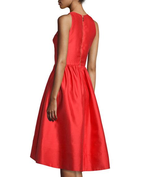 Kate Spade New York Sleeveless Satin High Low Dress Red