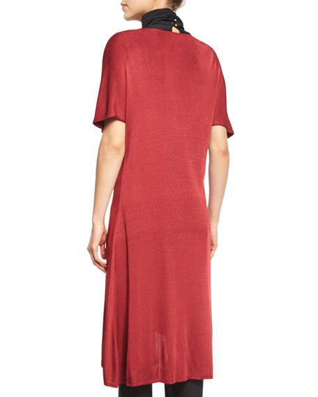Flowing Short-Sleeve Dress W/Buckle, Red, Petite