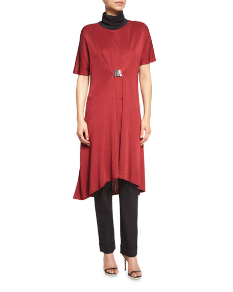 Misook Collection Flowing Short-Sleeve Dress W/Buckle, Red,
