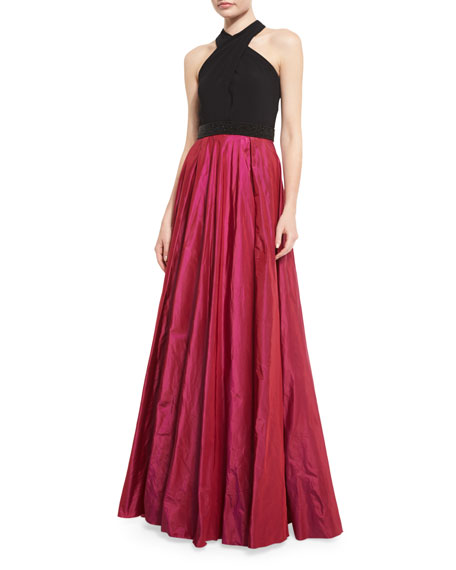 Carmen Marc Valvo Sleeveless Beaded Jersey & Taffeta