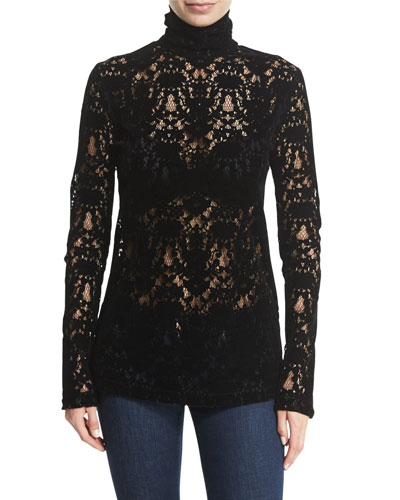 Long-Sleeve Lace Turtleneck Top, Black