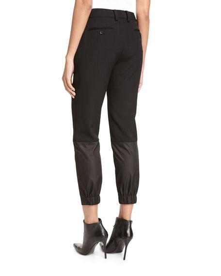 Mixed-Media Ankle Pants, Black