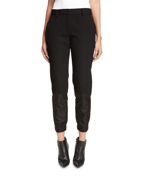 DKNY Mixed-Media Ankle Pants, Black
