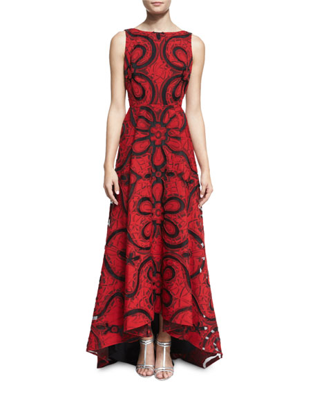 Badgley Mischka Floral-Print Arched-Hem Lace Gown, Red/Black