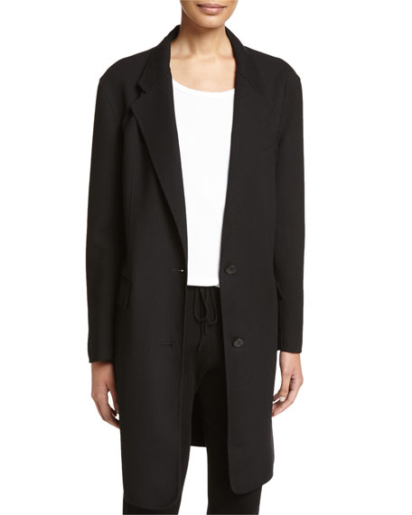 DKNY Long Tailored Wool-Blend Coat & Jersey-Knit Drawstring