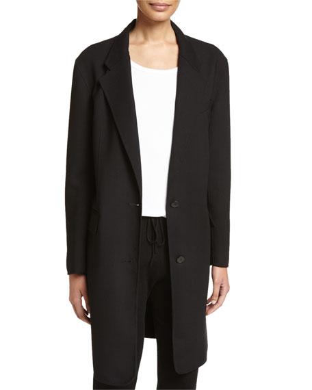 DKNY Long Tailored Wool-Blend Coat, Black