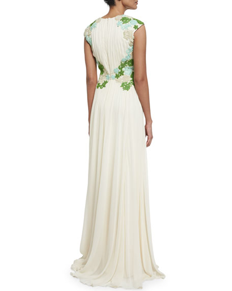 Sleeveless Floral-Embellished Grecian Gown, Champagne
