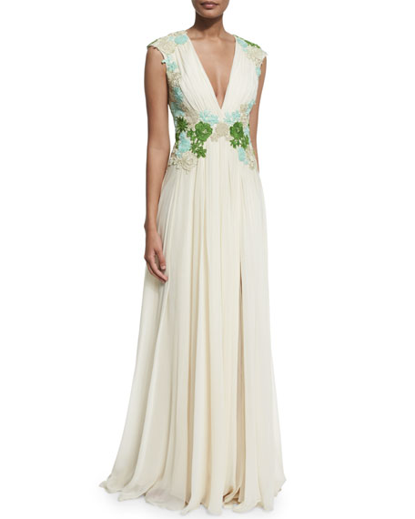 Badgley Mischka Sleeveless Floral-Embellished Grecian Gown, Champagne