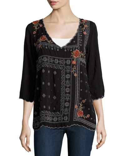 Bennett Embroidered 3/4-Sleeve Blouse, Black