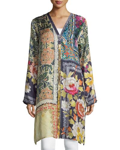 Shiro Printed Button-Front Silk Tunic, Multi, Petite