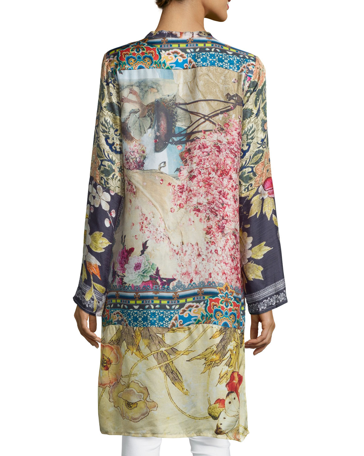 9dd20f09a03 Johnny Was Shiro Printed Button-Front Silk Tunic, Multi | Neiman Marcus