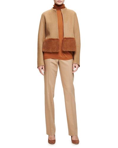 Lucas Fur-Trim Zip-Front Jacket, Teak/Cinder