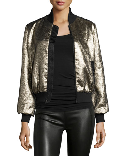 Allura Metallic Bomber Jacket, Black/Gold