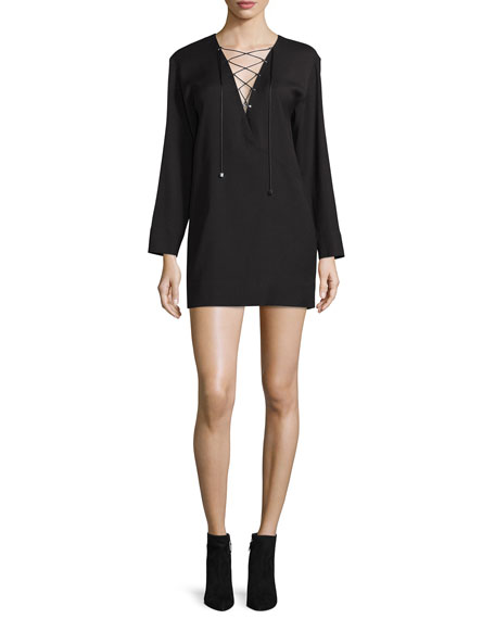 Anice Lace-Front Wool-Blend Mini Dress, Black