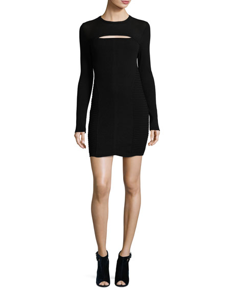 Hardin Ribbed Jersey Mini Dress, Black