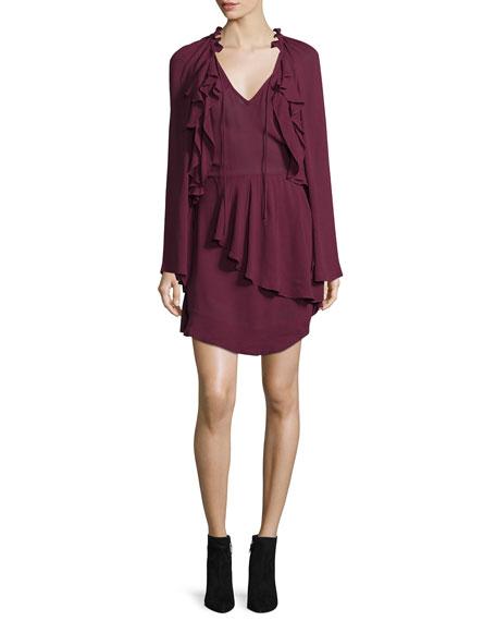 Iro Salene Ruffle-Trim Mini Dress, Burgundy