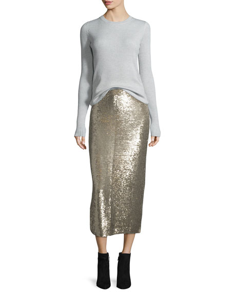 Bump Sequin Midi Skirt, Gold