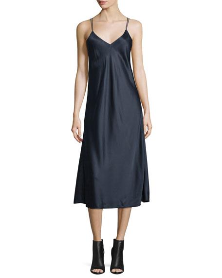 Helmut Lang Draped-Back Silk Satin Midi Dress, Navy